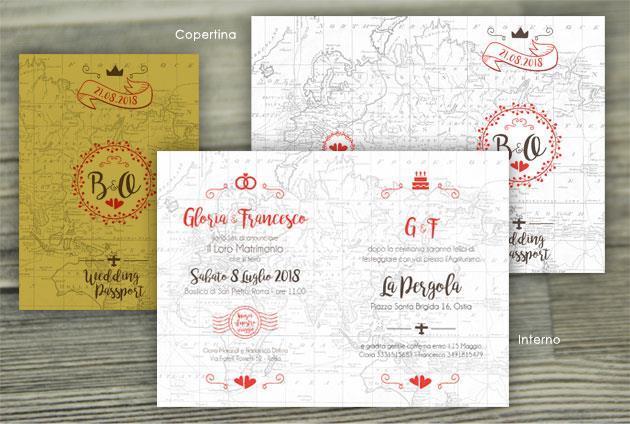 Partecipazione di Matrimonio 4 Pagine  WEDDING PASSPORT