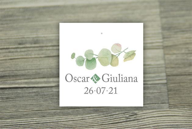 Biglietto Bomboniera Quadrato  GREEN
